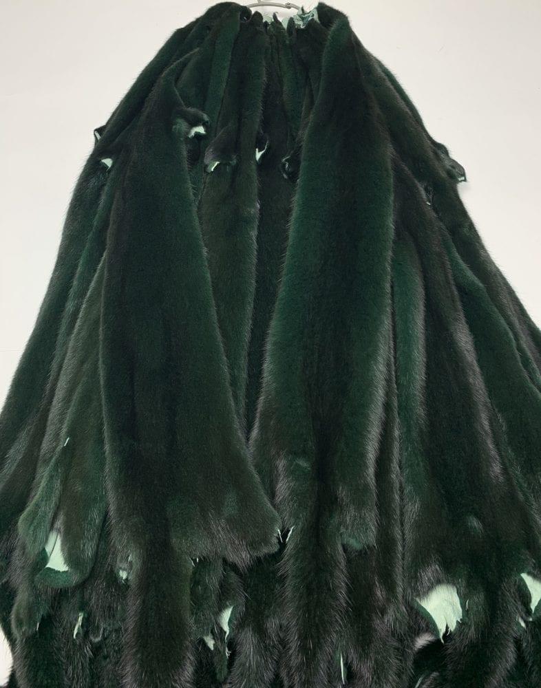 Мех норки крашеной тёмно-зелёной