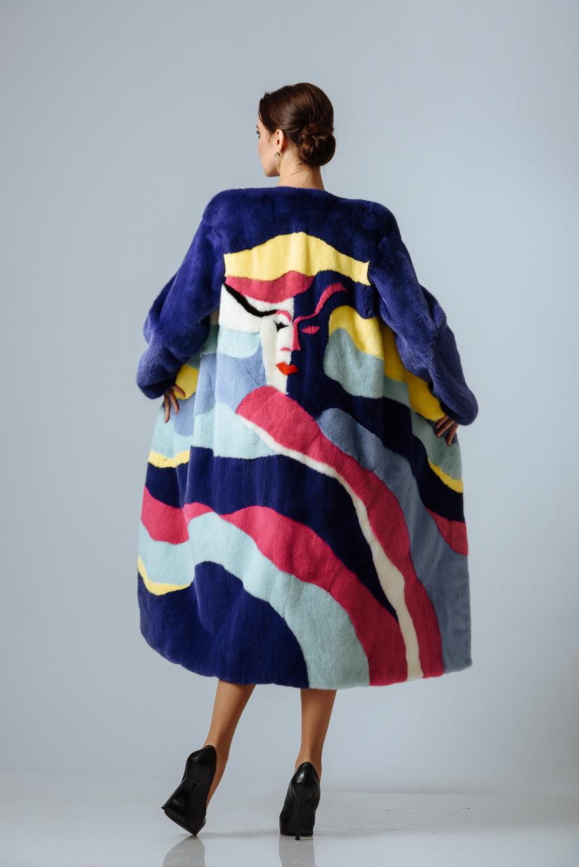 Пальто из крашенной норки 5 цветов  (на заказ)