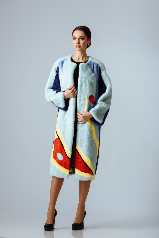 Пальто из крашенной норки 4 цвета светлое  (на заказ)